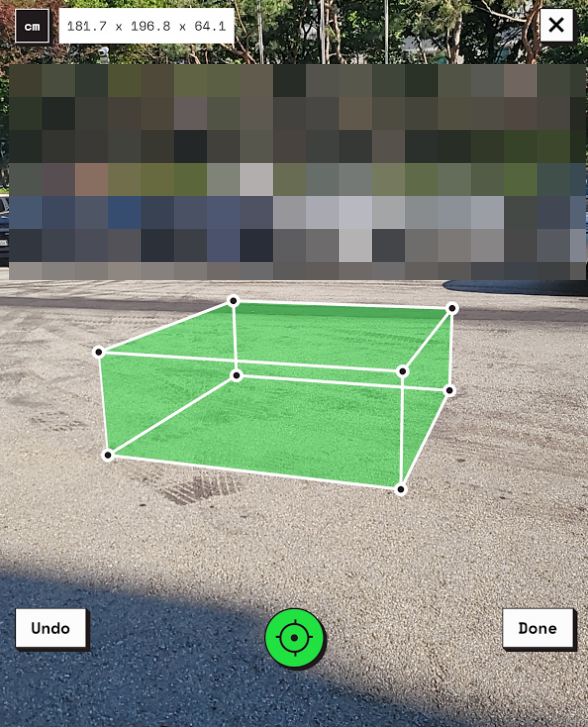 사물 부피를 측정할수 있는 구글 웹 앱 MEASURE UP 캡처 3