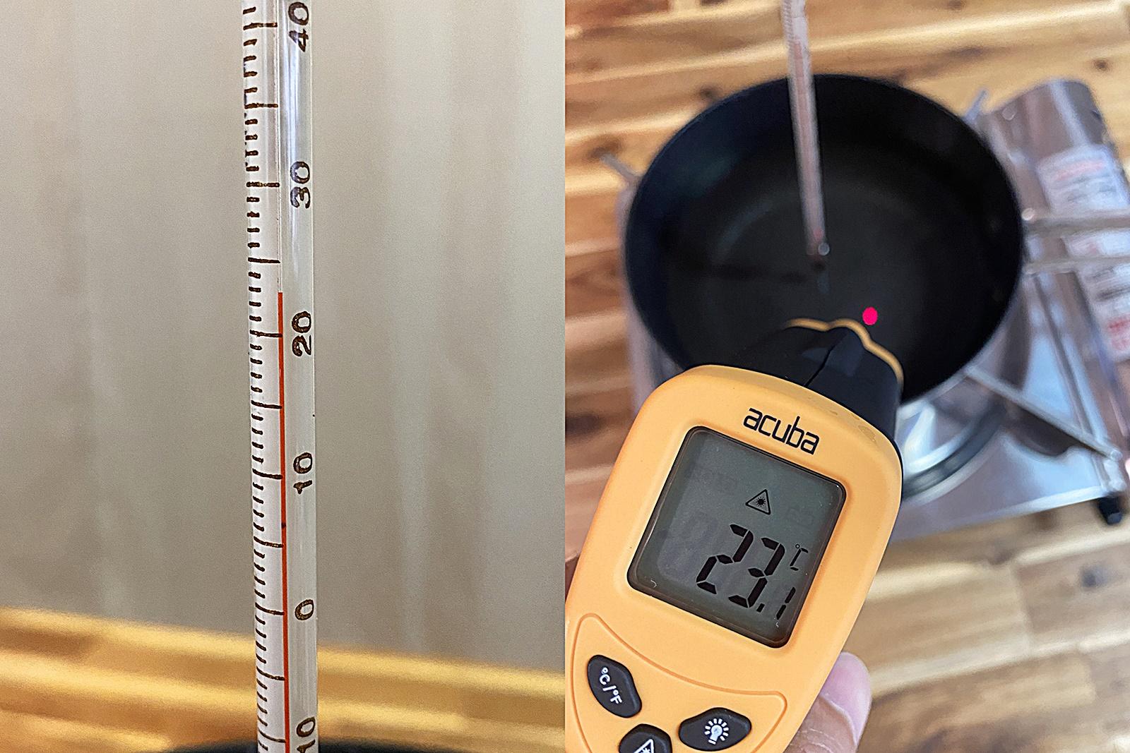 검은색 코팅 냄비 물 끓이며 온도계 비교 실험 1