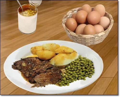 계란과 콩,고기요리