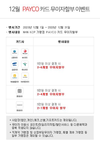 ▲ NHN KCP 12월 신용카드 무이자할부 이벤트