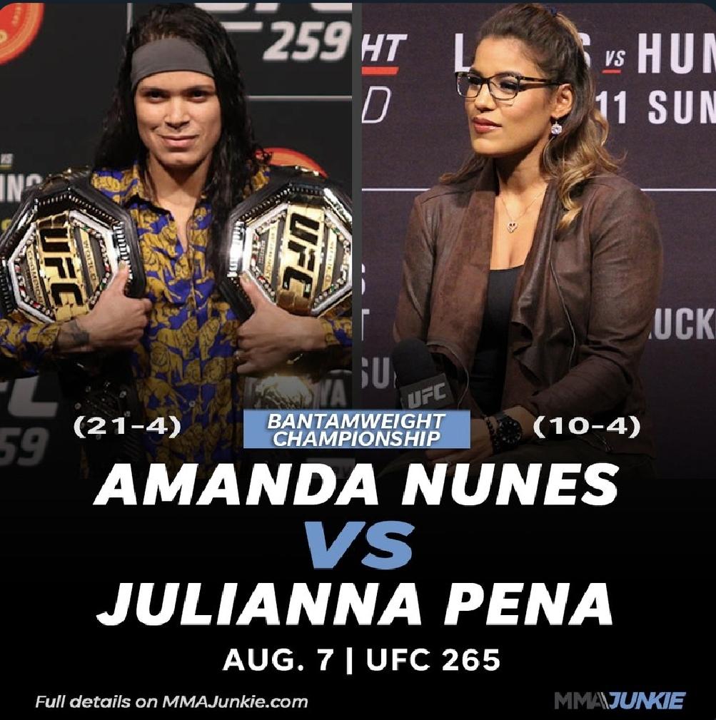 [UFC 매치업 뉴스] 아만다 누네스 VS 줄리아나 페냐 UFC265(8월 8일) 격돌   하파엘 도스 안요스 포이리에 VS 맥그리거 대회 출전