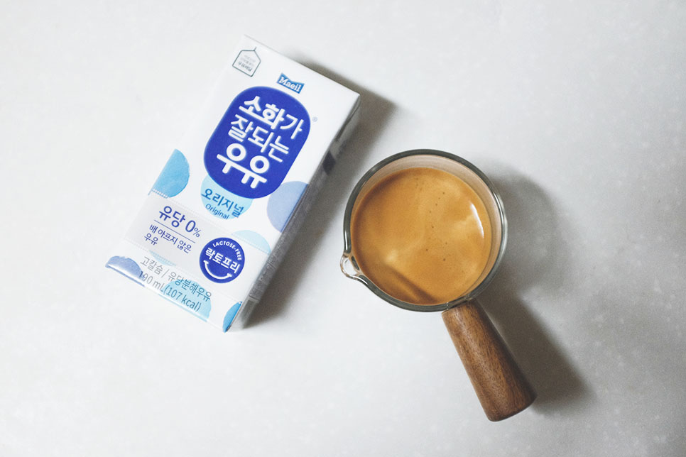 에스프레소 샷 2개와 소화가 잘되는 우유
