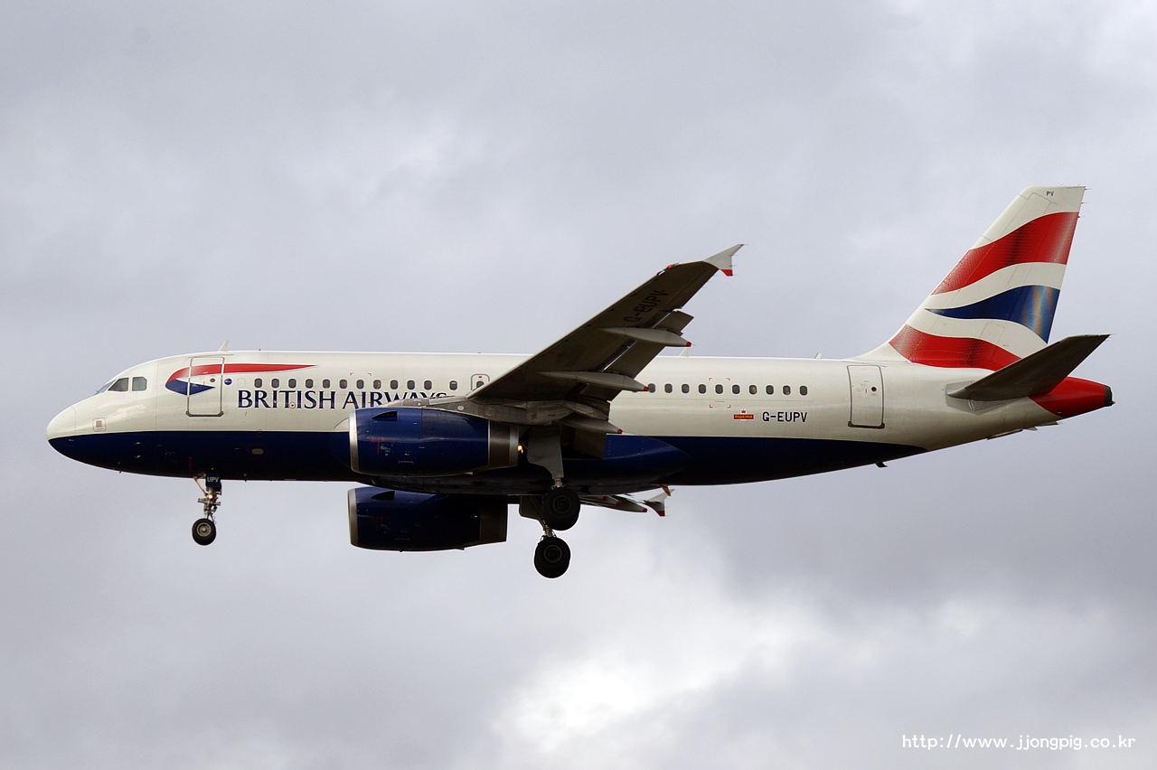 영국 항공 British Airways BA BAW G-EUPV Airbus A319-100 A319 런던 - 히드로 London - Heathrow 런던 England London LHR EGLL