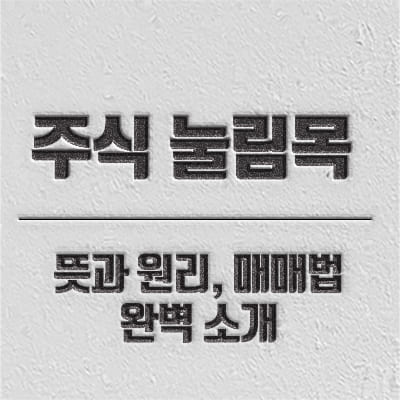 주식 눌림목 현상 소개 및 매매기법 소개