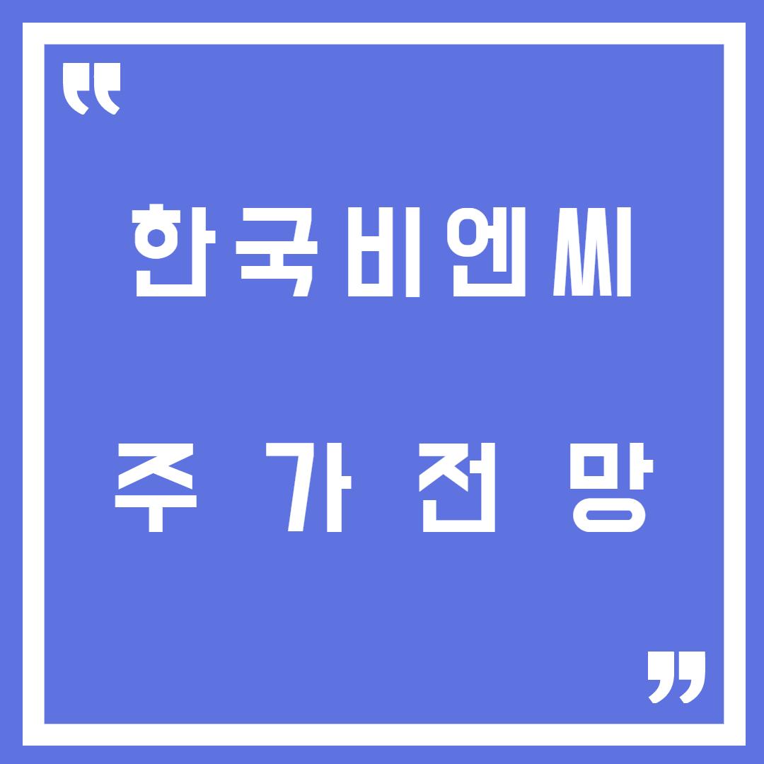 한국비엔씨 주가전망