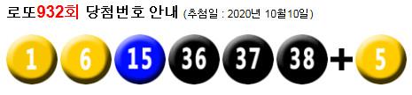 로또932회당첨번호 : 21, 27, 29, 38, 40, 44 + 37