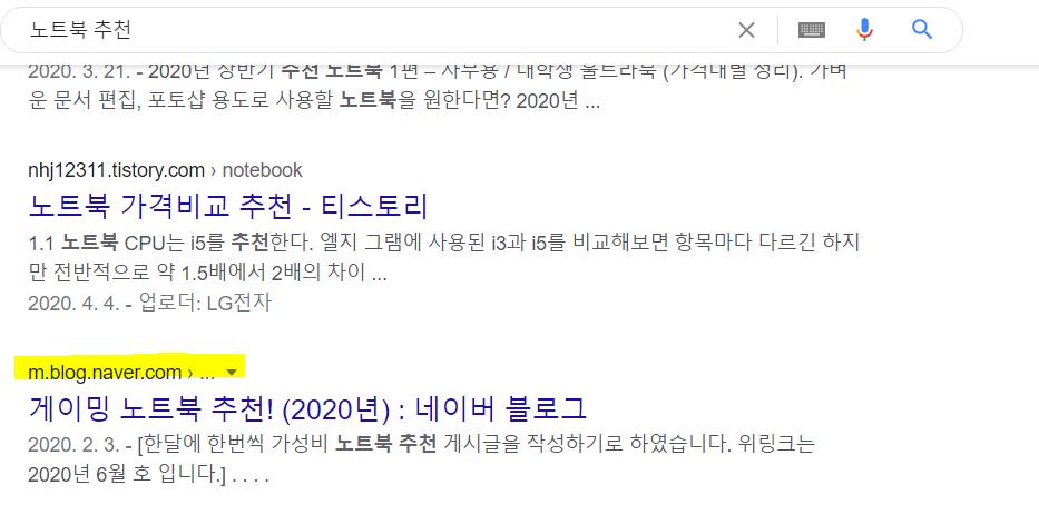 구글 검색 노출되는 네이버 블로그 페이지