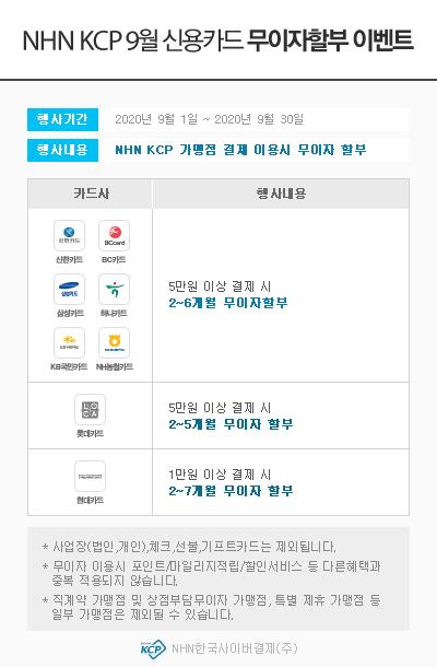 ▲ NHN KCP 09월 신용카드 무이자할부 이벤트