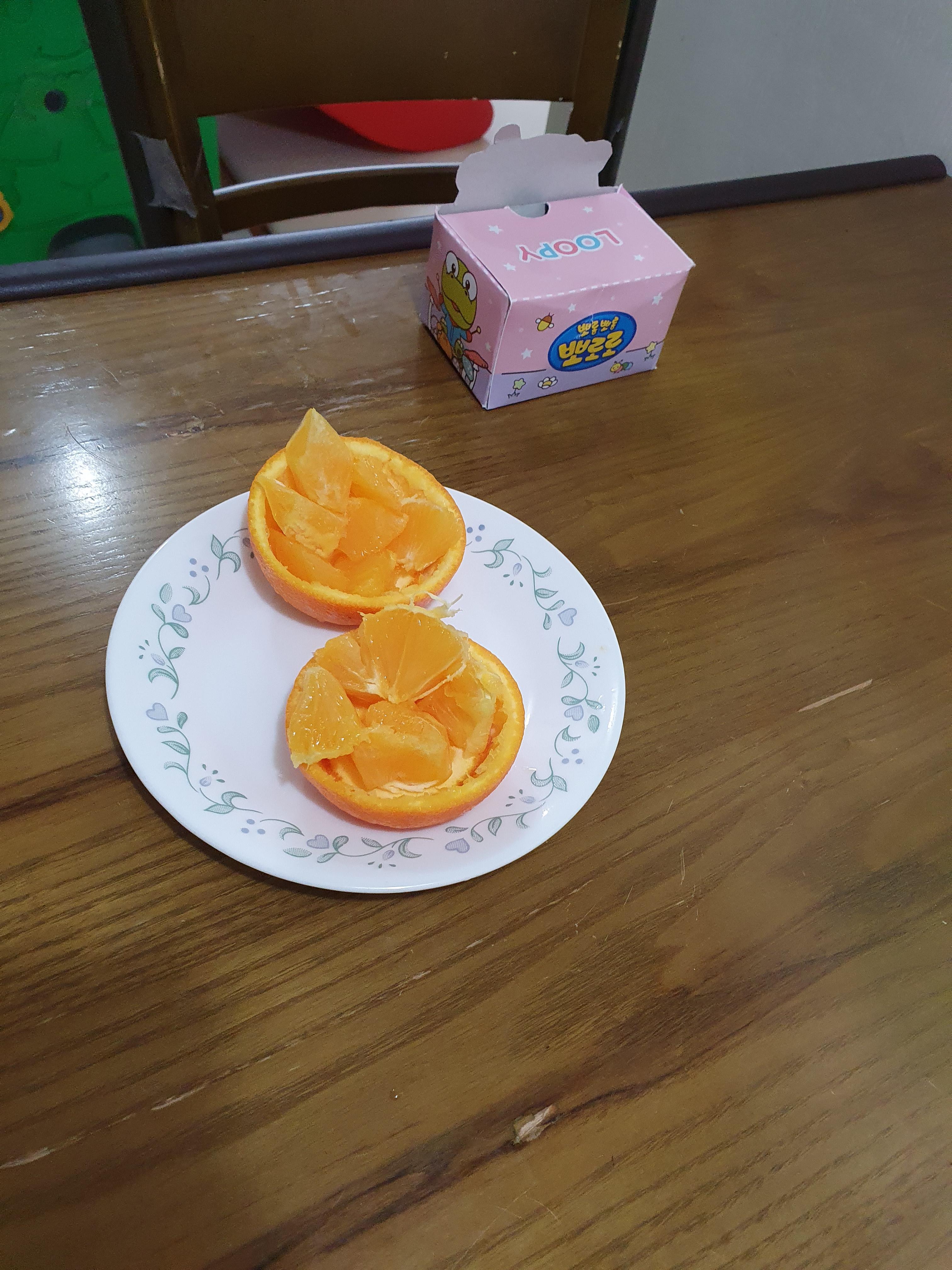 오렌지 그릇, 오렌지 예쁘게 까는 법 (유튜브 보고 따라해봤어요)
