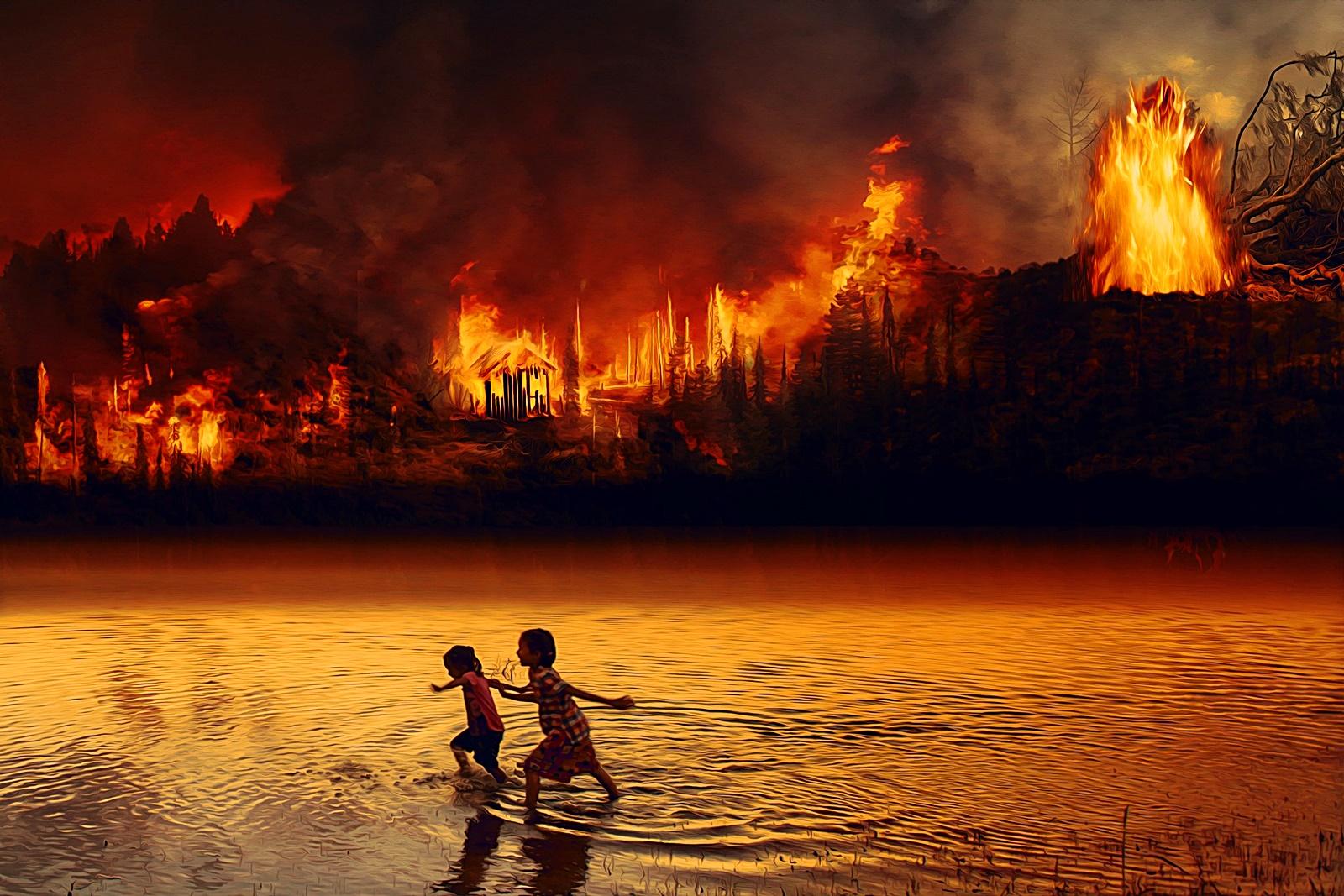산불에 도망가는 아이들