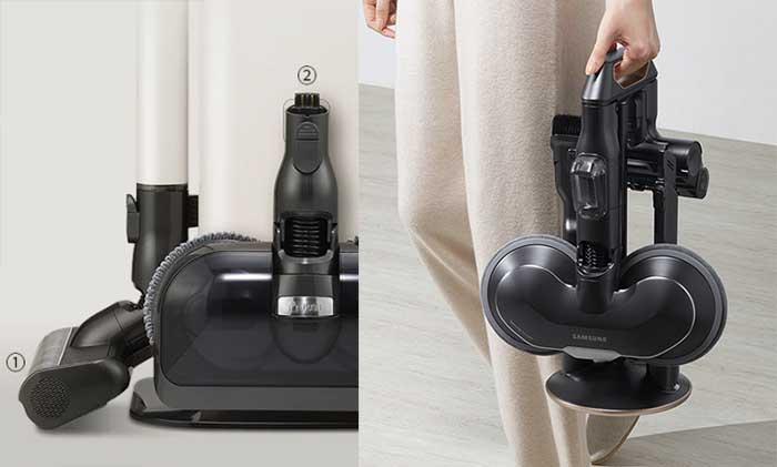 (좌) LG 물걸레 키트 거치방식 (우) 삼성 물걸레 키트와 부속품 따로 거치하는 방식