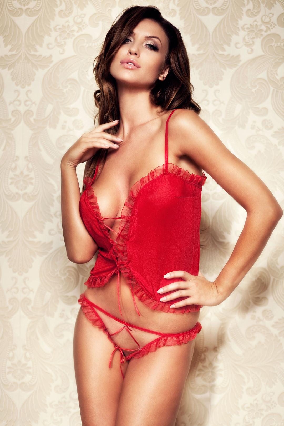 hot women wearing red lingerie - Monika Pietrasinska
