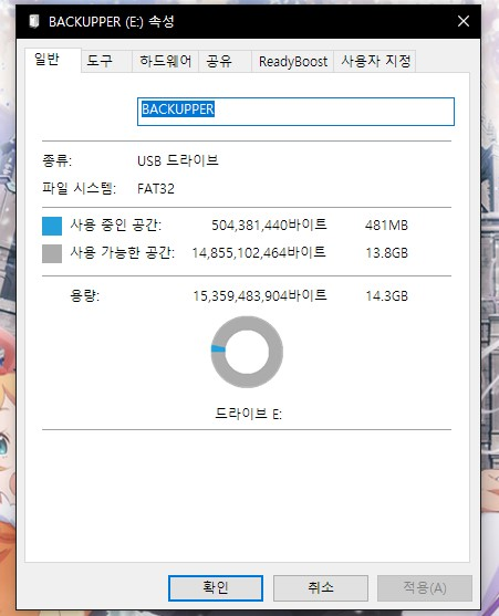 USB 파일 시스템 확인