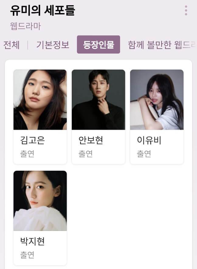 유미의 세포들 드라마 등장인물