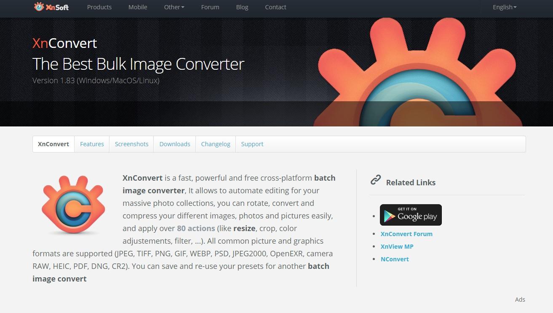 xnconvert 공식 홈페이지