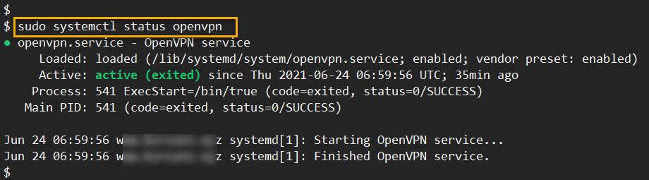 systemctl 명령으로 openvpn 구동 상태 확인