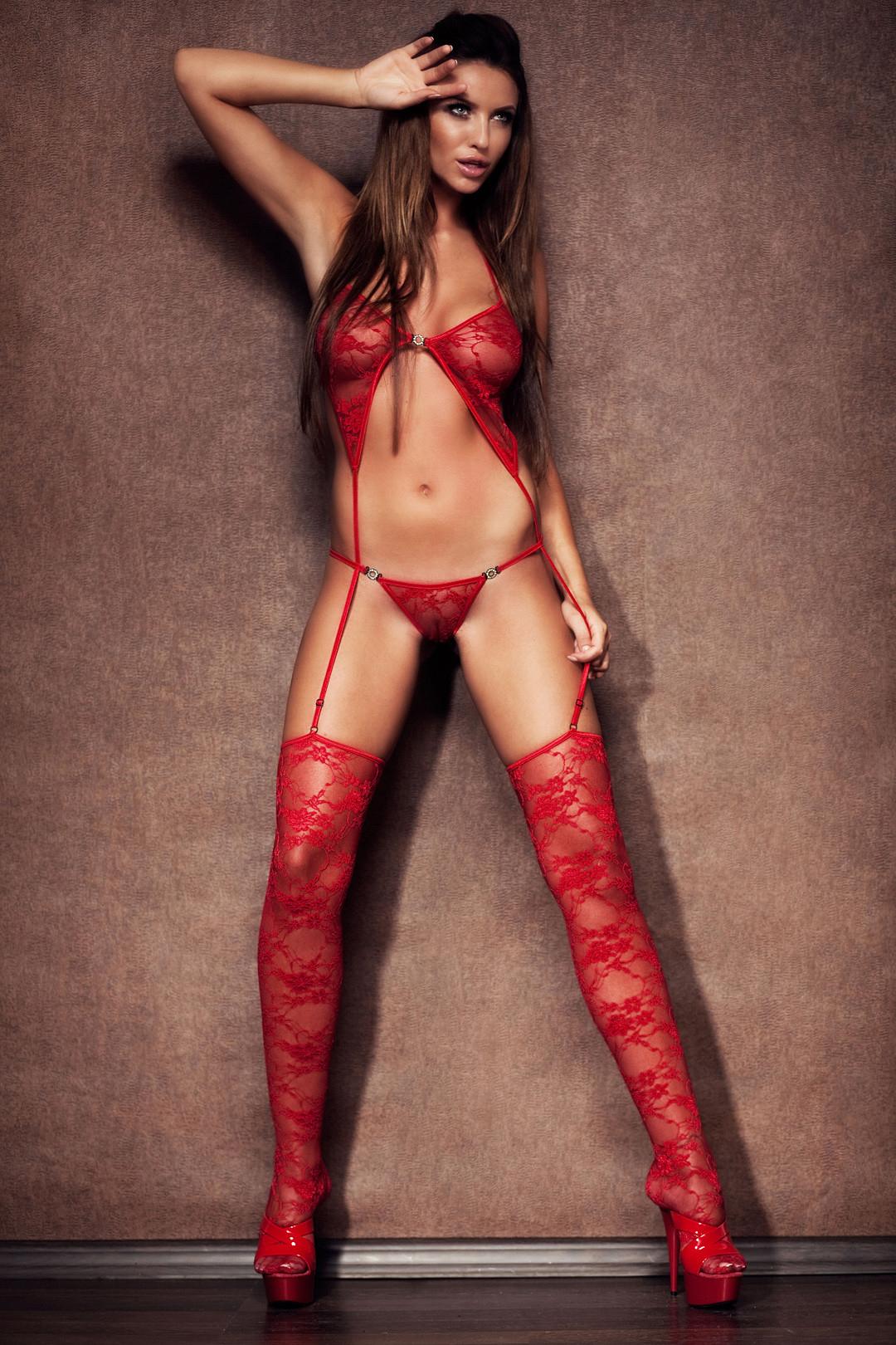 hot women wearing see through red lingerie - Monika Pietrasinska
