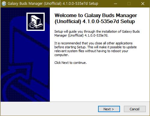 갤럭시 버즈 PC 매니저 비공식 버전 설치