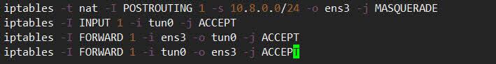 openvpn 터널링 인터페이스의 NAT 및 라우팅 설정