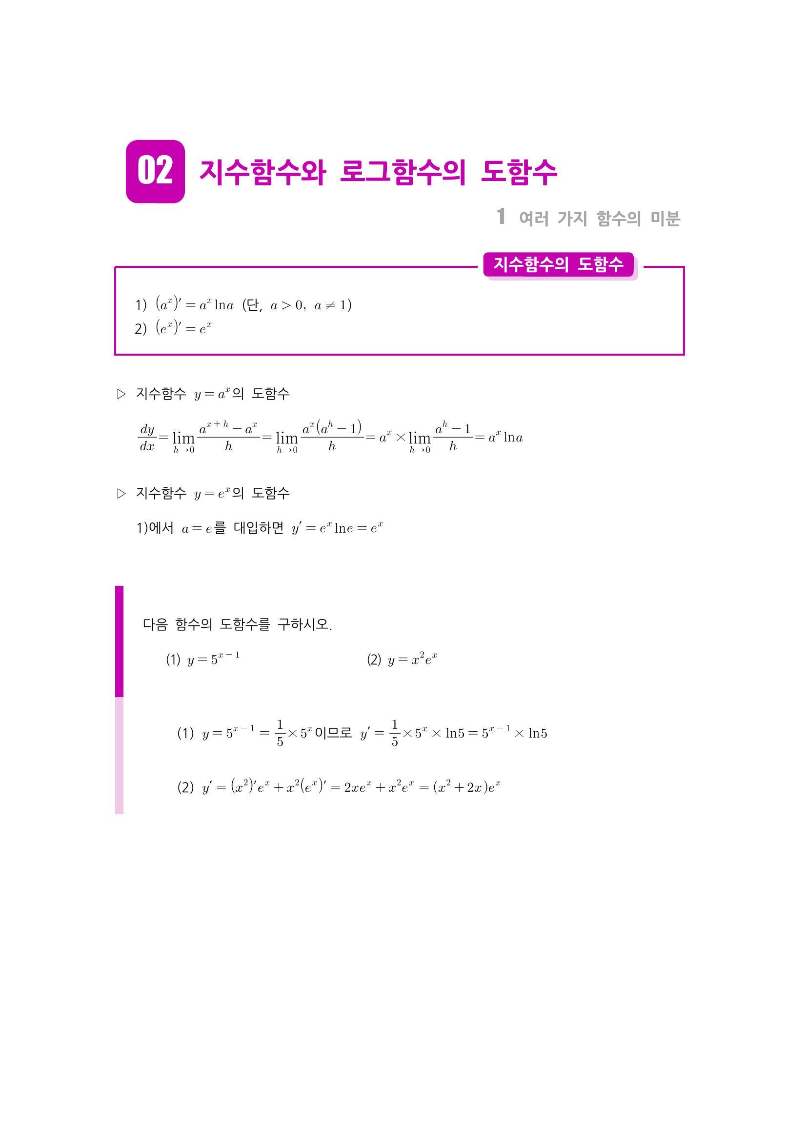 수학 개념 정리/공식 : 지수함수의 도함수, 로그함수의 도함수