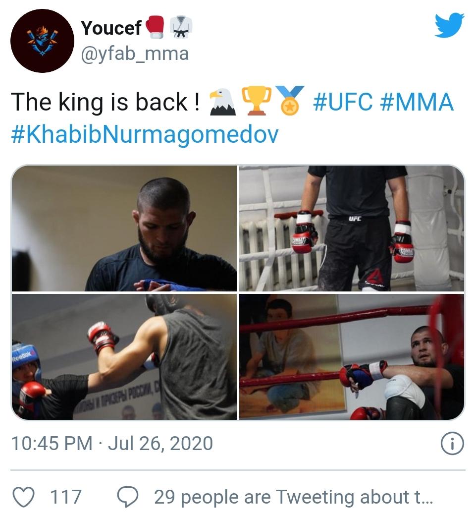 [UFC 트윗 단신] 하빕 누르마고메도프 트레이닝 복귀