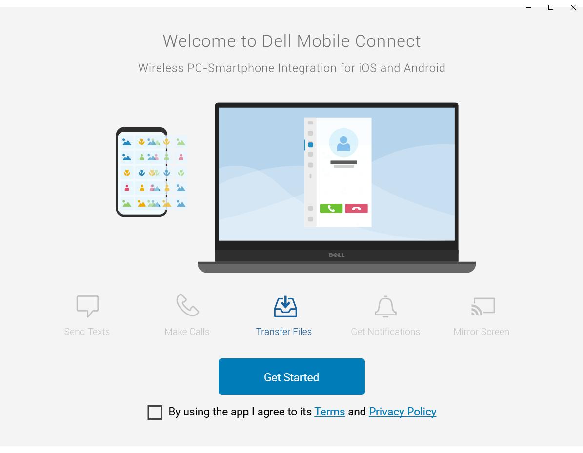 윈도우용 Dell Mobile Connect 실행 모습