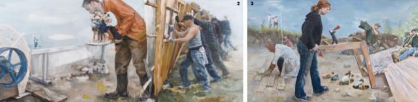 2.'Trans-Scene',oiloncanvas,162×70cm,2010 3.'Metallurgy,공통의기억들',oiloncanvas,162×97.3cm,2012