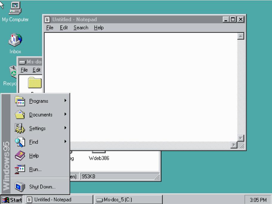 윈도우 3.1, 윈도우95 초기 윈도우를 웹에서 경험해 보세요.