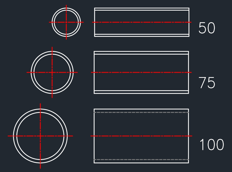 C-PVC 파이프 규격 캐드 도면 그리기 리습 & 메뉴 :: CadBOX