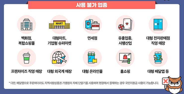 서울 재난지원금 사용불가 업종