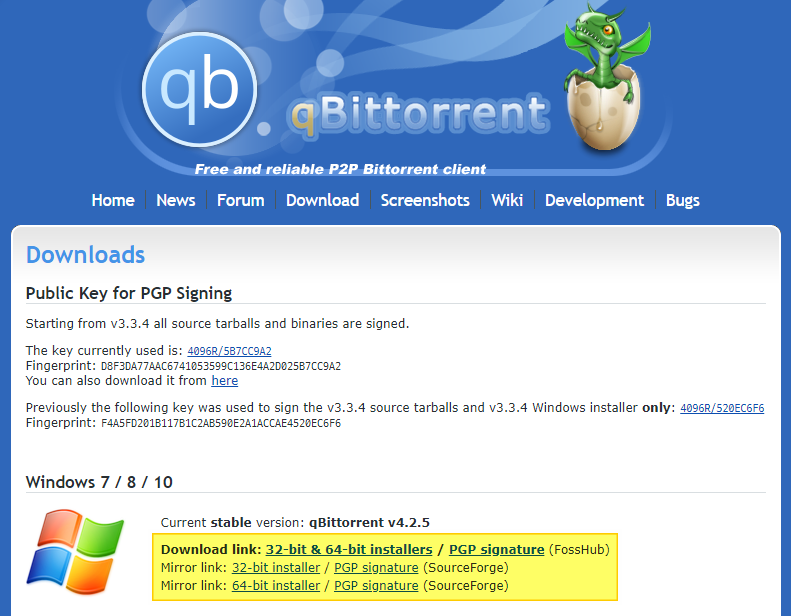 qBittorrent download page
