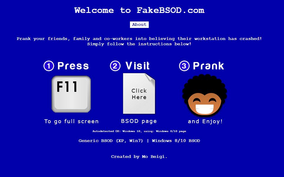 윈도우 블루스크린 페이크 사이트 캡처 1