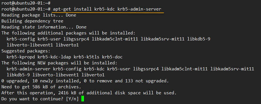 apt-get install krb5-kdc krb5-admin-server -y , 커버로스 서버설치