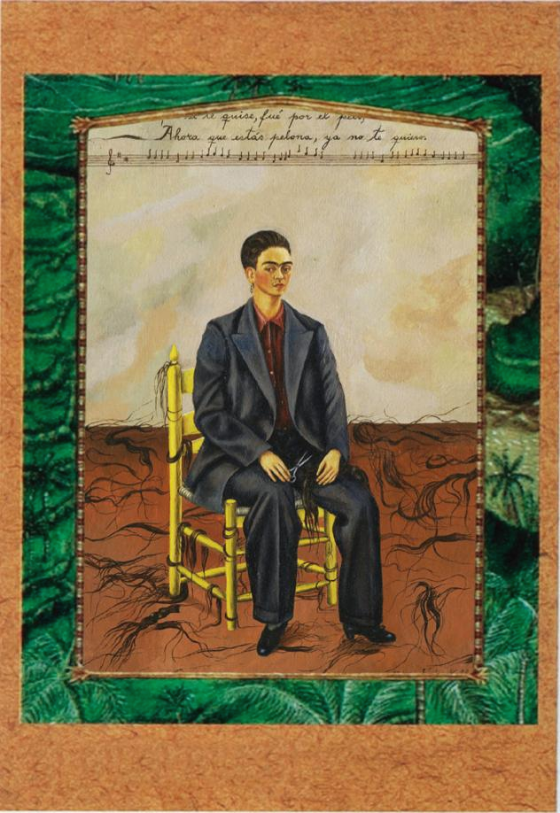 'Self Portrait with Cropped Hair', Frida Kahlo, oil on canvas, 40×28cm, 1940