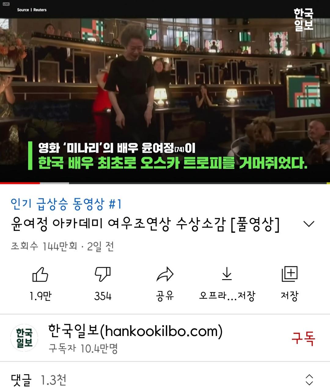 윤여정, 아카데미 여우조연상 수상