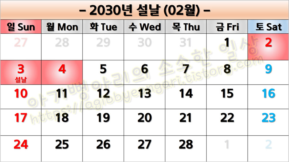 2030년설날