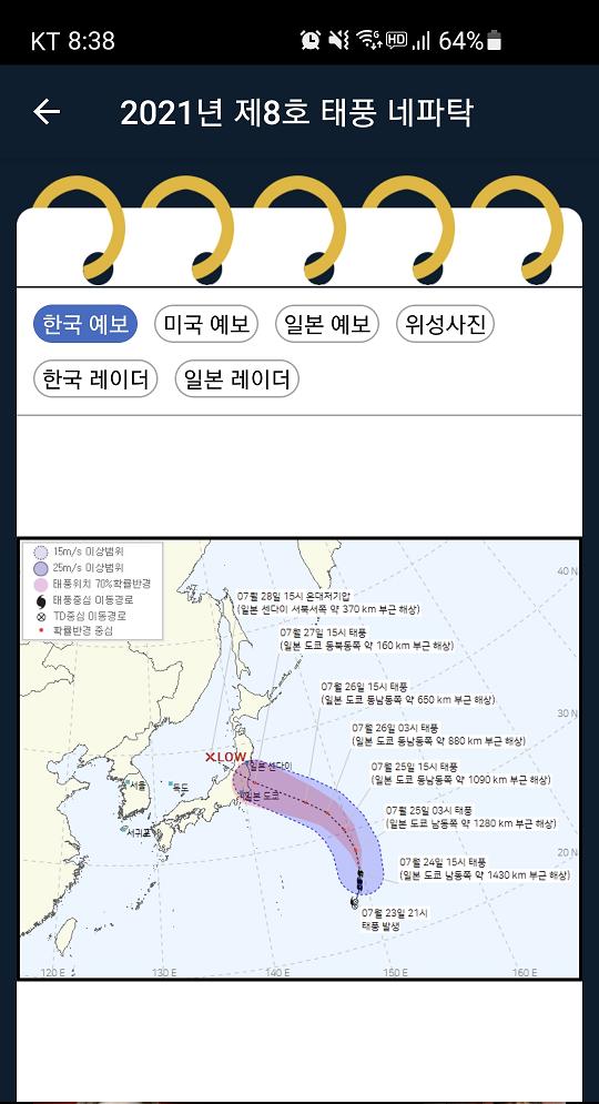 일본올림픽 기간 중 8호 태풍 네파탁 일본통과 예보