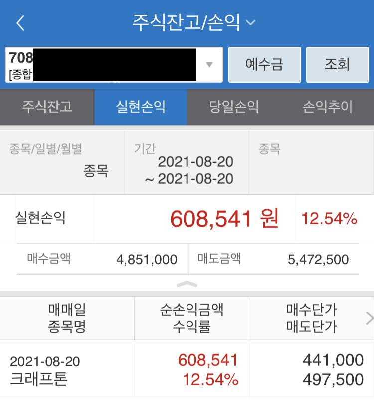 크래프톤 매매수익 61만원