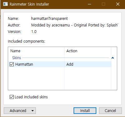 rainmeter 윈도우10 바탕화면 커스텀 SKIN 적용 사진6