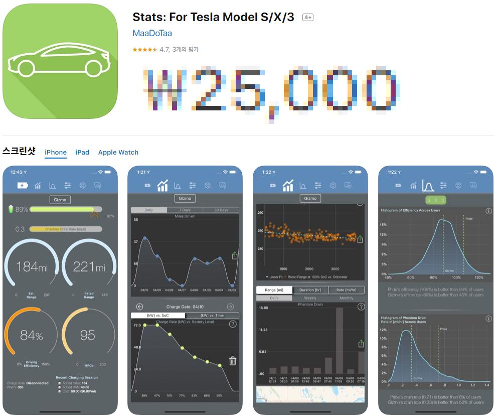 테슬라 오너가 알려주는, 테슬라 최고의 통계 기반 관리 앱(어플) 'Stats' 소개