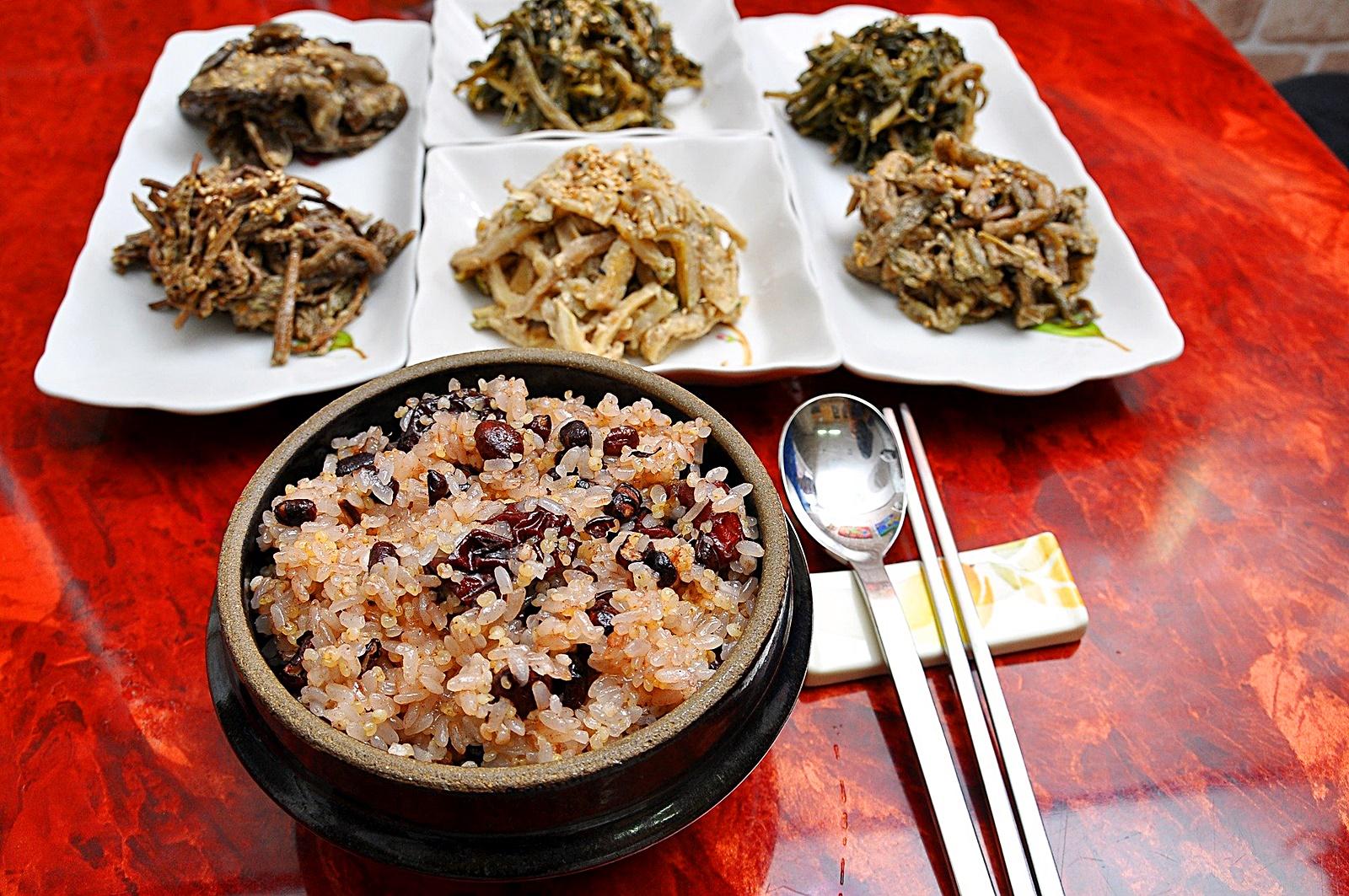 오곡밥과 나물들