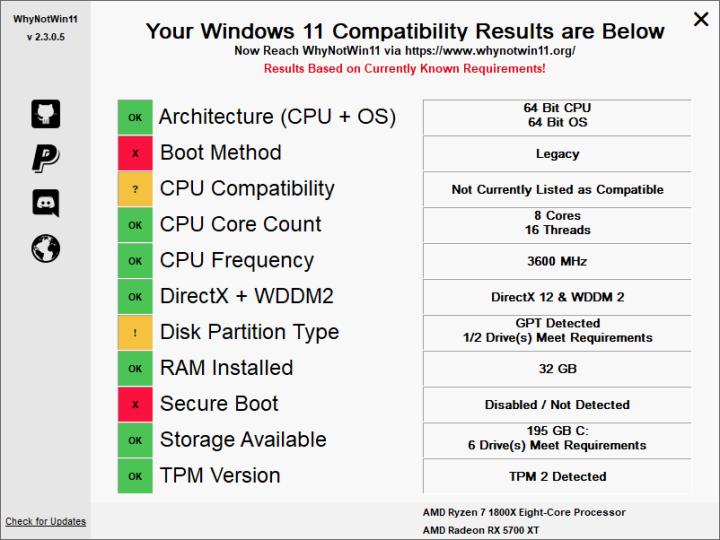 WhyNotWin11 프로그램 사용 윈도우11 사양 검사