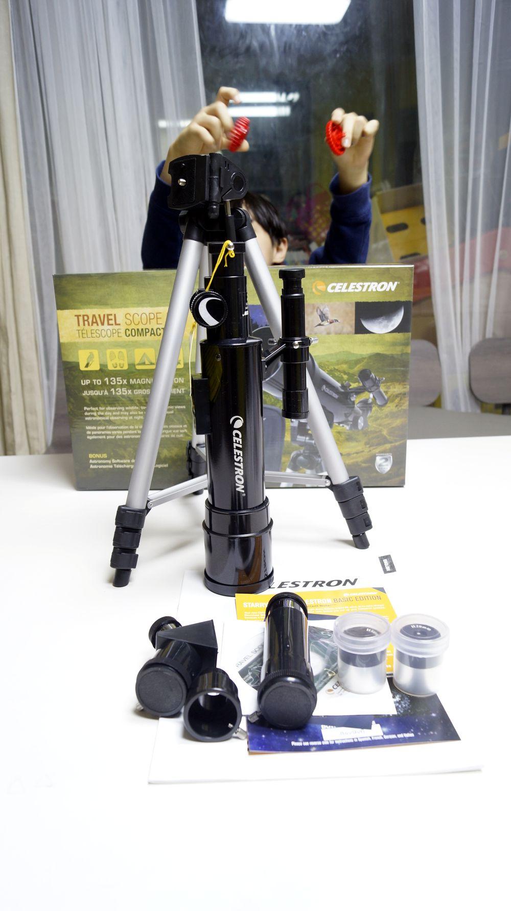 셀레스트론 travel scope 50 구성품들.