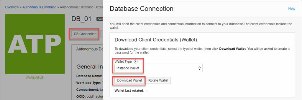 Oracle Cloud Database Connect - Instance wallet