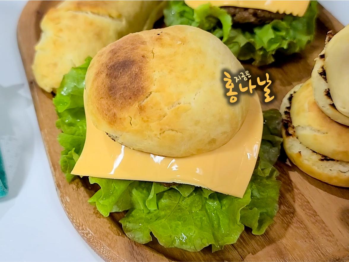 [햄버거] 모닝빵 윗 조각 덮기