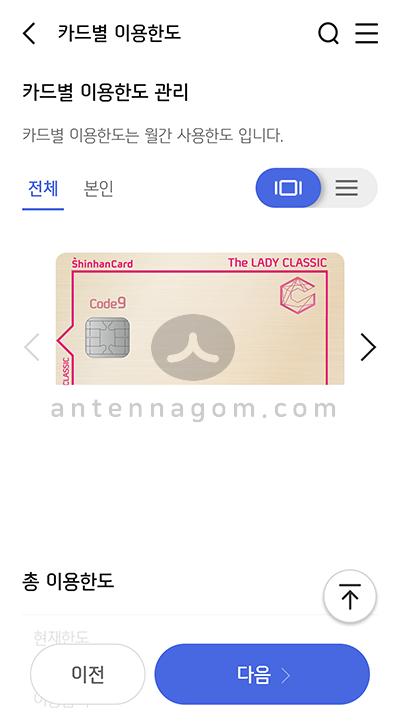 신한카드 카드 한도조회 카드별 한도 설정 방법 5