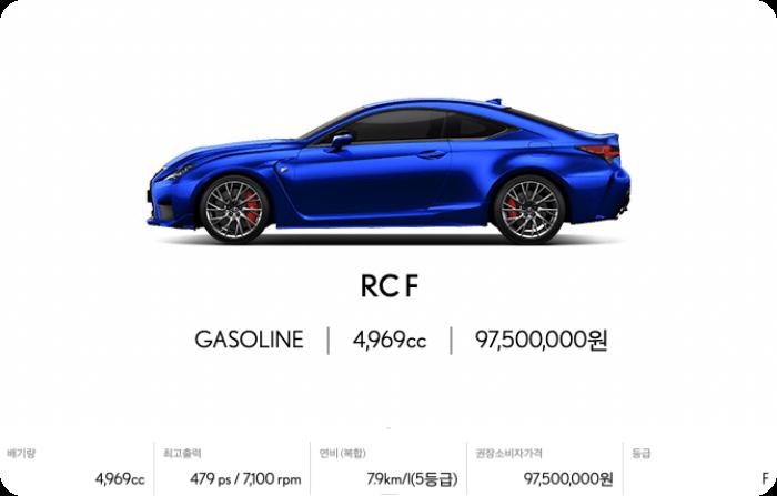 렉서스-rcf모델가격-연비-배기량표