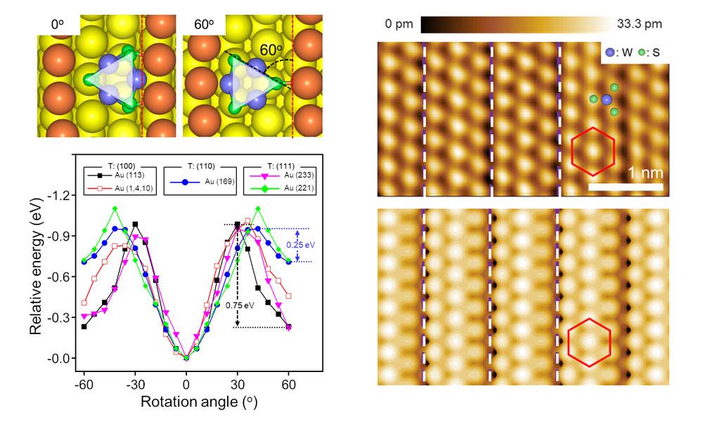 ▲ 다양한 금 표면에서 WS2 클러스터 회전각도에 따른 흡착 에너지 계산결과 및 실험적으로 측정된 단결정 WS2의 주사터널링현미경 이미지