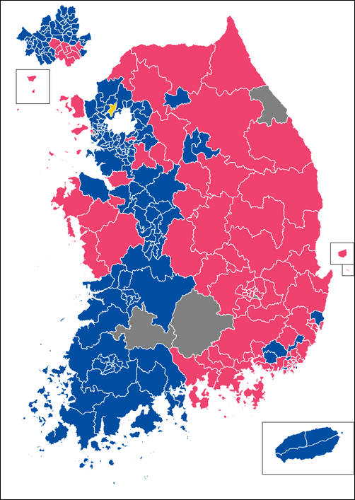 총선 지도로 본 대한민국 현재 참 모습