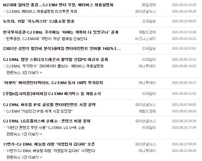 CJENM 뉴스, 공시